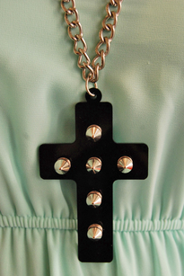 Cross necklace with studs