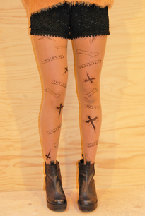 Cross tatto stockings