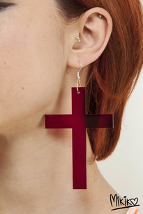 Cross earring red